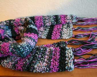 Pink Grey Black Crochet Scarf FREE SHIPPING