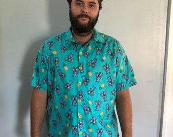Button up shirt, stitch shirt, men's button up, Disney button up, Stitch Button Up Shirt, boys shirt, boys button up, boys button up shirt