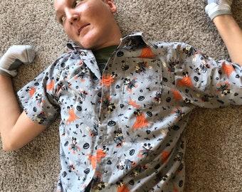 Mens Button Up Shirt, Button Up Shirt, Halloween Shirt, Disney Shirt, Mickey Shirt, Boys Shirt, Boys Button UP, Boys Button Up