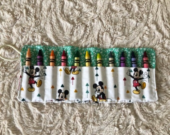 Crayon Roll, Crayon Roll Up, Mickey Crayon Roll, Mickey Mouse Crayons, Boys Coloring, Stocking Stuffer, Disney Crayon Roll, Disney Crayons