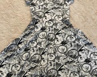 Jack Skellington Dress, Boo Bash, Gurls dress, twirl dress, Skater Dress, Girls Disney dress, Disney dress, pocket dress, nightmare before