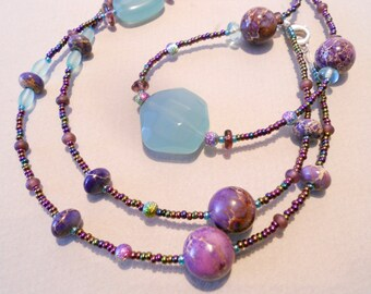 Purple/Amethyst Jasper Gemstone and Aqua Handmade Necklace