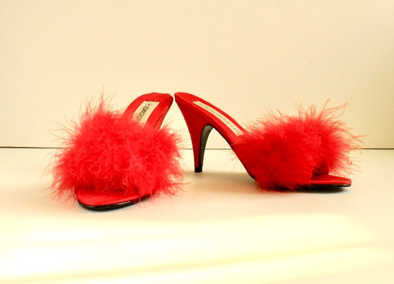 Vintage Marabou Feather Slipper Mules, Size 6, Red