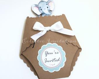 Baby Shower Diaper Invitations - Elephant Themed Set of 20
