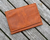 Leather double passport case travel wallet phone wallet - Hand stitched