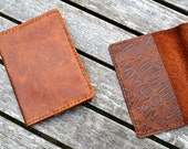 Leather passport cover - Hand stitched