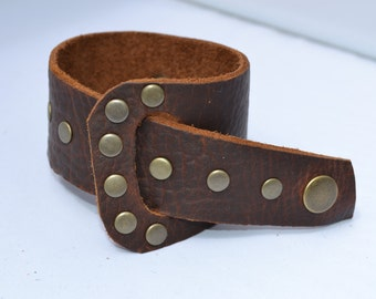 Brown leather wrap cuff bracelet with bronze rivets