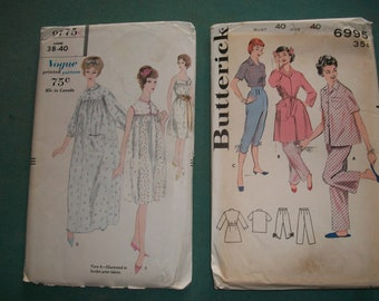 7e40a72cff Vintage Butterick Pattern 6995 or Vogue 9775.. Misses Nightgowns or Pajamas  with Robe Ensemble..1950 s Mid Century Ladies Nightie Pattern.