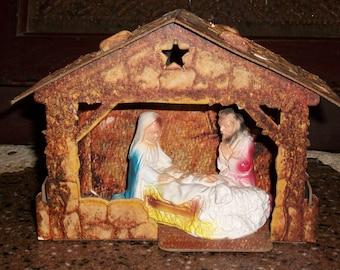 Cardboard nativity etsy mid century pressed cardboard nativitynger scene1960s christmas nativity solutioingenieria Choice Image