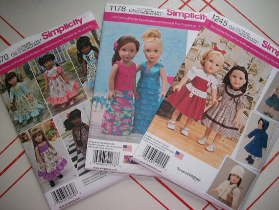 Simplicity 8070 1245 or Simplicity 1178..American Girl Doll | Etsy