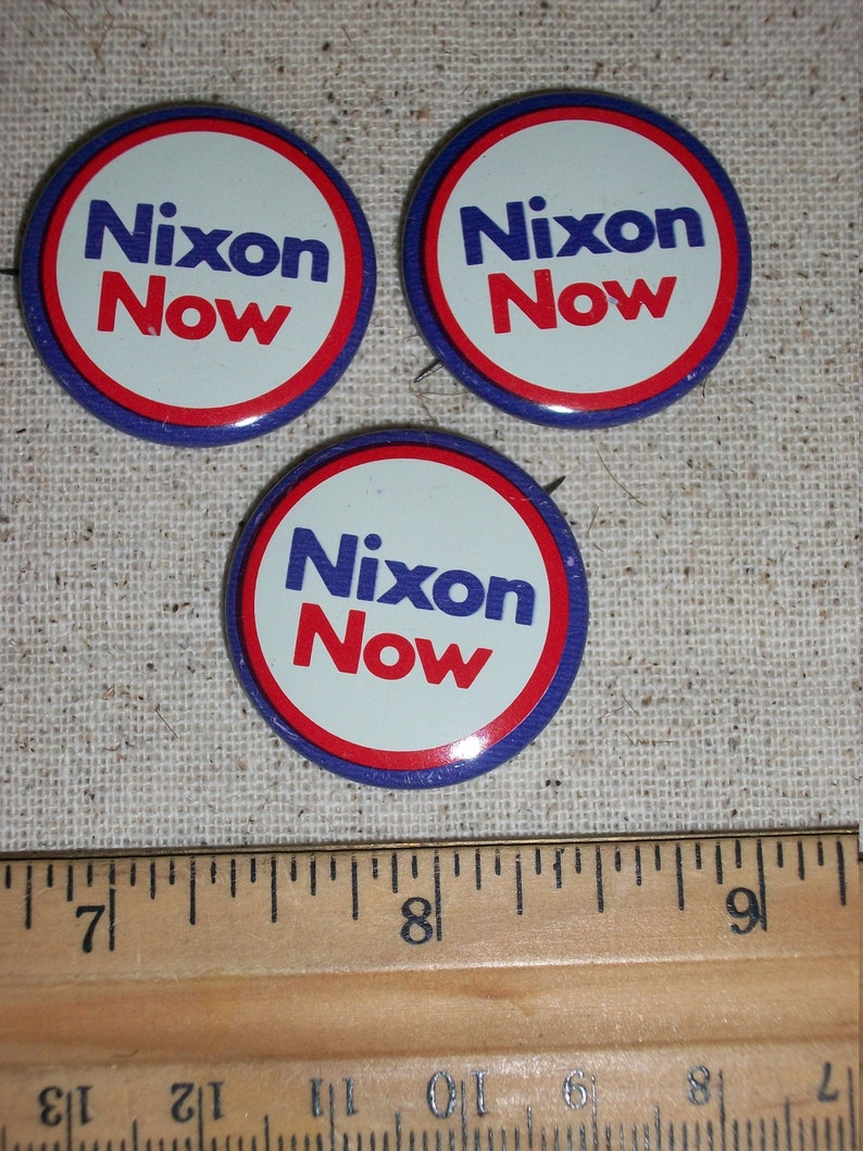 Six Vintage Policital Pins...Nixon Now and Nixon Agnew Pins...Tin Litho Pin Back Buttons...Nice Condition...Set of 6...1960/'s Political Pins