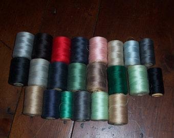 Vintage Thread...Mid Century Spools filled with Thread...Lot of 22 Vintage Threads...3 Pounds of Thread..Sewing Factory Thread Spools....