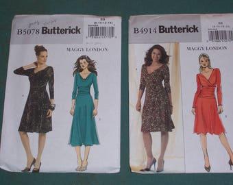 Butterick 4914 or Butterick 5078...Misses Pullover Dresses...Maggy London Designs...Feminine Pretty Misses Dress Styles..Sizes 8-14...Uncut