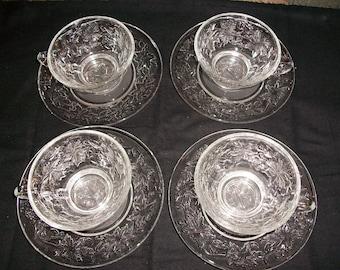 Vintage Princess House Crystal Fantasia Cups and Saucers..Set of 4...1970\u0027s Elegant Glass Dinnerware..Princess House #514 \u0026 #515. & Vintage Princess House Crystal Fantasia Beverage Mugs...Set of