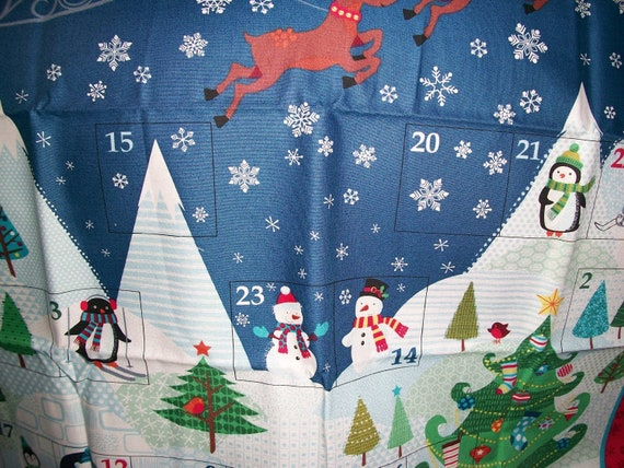 Large Makower/'Santa/'s North Pole/' Advent Calendar with pockets 100/% Cotton