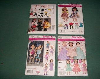 Simplicity 1135, 1087, 3936 or McCalls 6669..American Girl Doll Pattern..18 Inch Doll Pattern..Fancy Party Dress Patterns..New Uncut Pattern