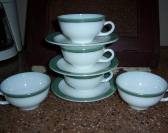 Vintage Pyrex Regency Dinnerware...Green with Gold Trim Cups and Saucers..8 Piece Set...
