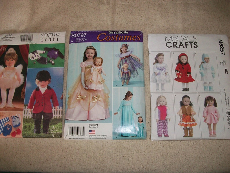 American Girl Doll Clothing Patterns Simplicity 797 Vogue Etsy