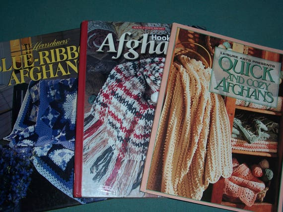 Ganchillo afgano patrón libros... Set de 3 libros... Duro 2... 1 ...