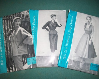 Mid Century Woman's Day Fontana Patterns..5026/5017 or 5025..Very Classy 1950's Stylish Dress & Jacket Patterns..Uncut and Factory Folded...