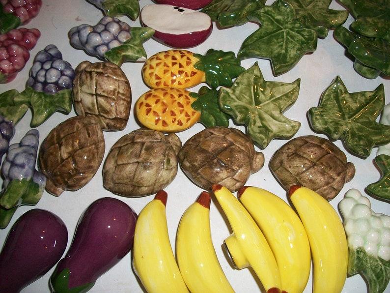 Vintage Fruit Vegetable Drawer Knobs...Kitchen Cabinet Knobs...Dresser Drawer Knobs..Ceramic fruit Knobs..Fruit Hardware Knobs..