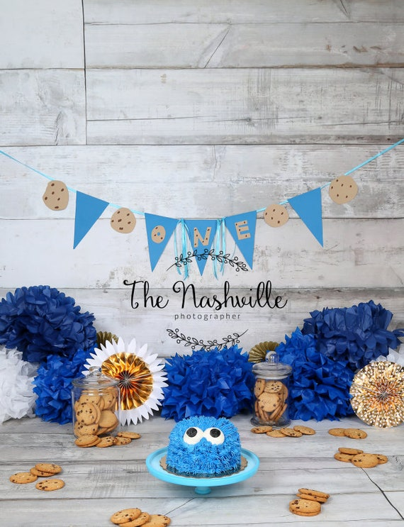 First Birthday Cookie Monster Themed Digital Background Etsy