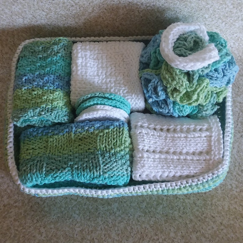 Spa Gift Set, Crochet & Knit Bath Set, Handmade Washcloth, Cotton Facial Cloth