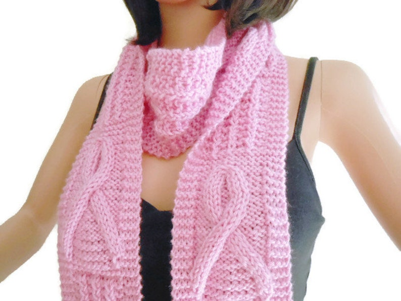 Hand Knit Awareness Scarf Satiny Pink Breast Cancer Scarf image 0
