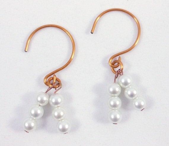 Hanging Bead French Hoop Earrings, Wire Jewelry, Pearl Drop Earrings, Gift for Her, Handcrafted Earrings, Bronze Jewelry