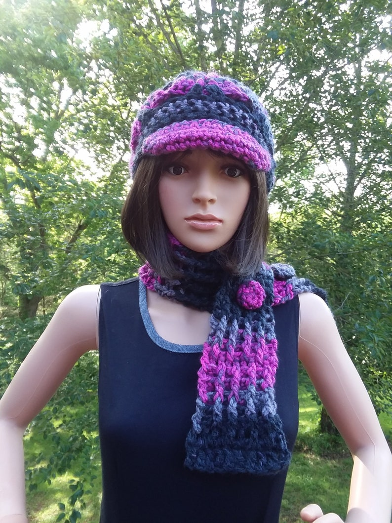 Crochet Scarf Set Hat and Scarf Set Black Raspberry  Gift image 0