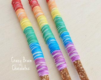 Chocolate Drizzle Rainbow Pretzels (12)
