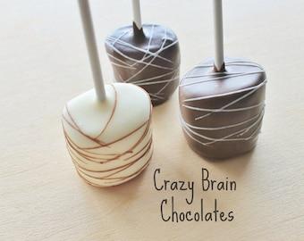 Chocolate Dipped Marshmallow Pops (12) - Birthday - Wedding - Gift