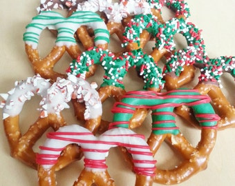 Large Chocolate Covered Christmas Pretzels (12)