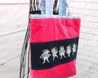 Jean Messenger Bag with Embroidered Flowers Pink Lining ~ Upcycled Bookbag Backpack Library Bag Tote