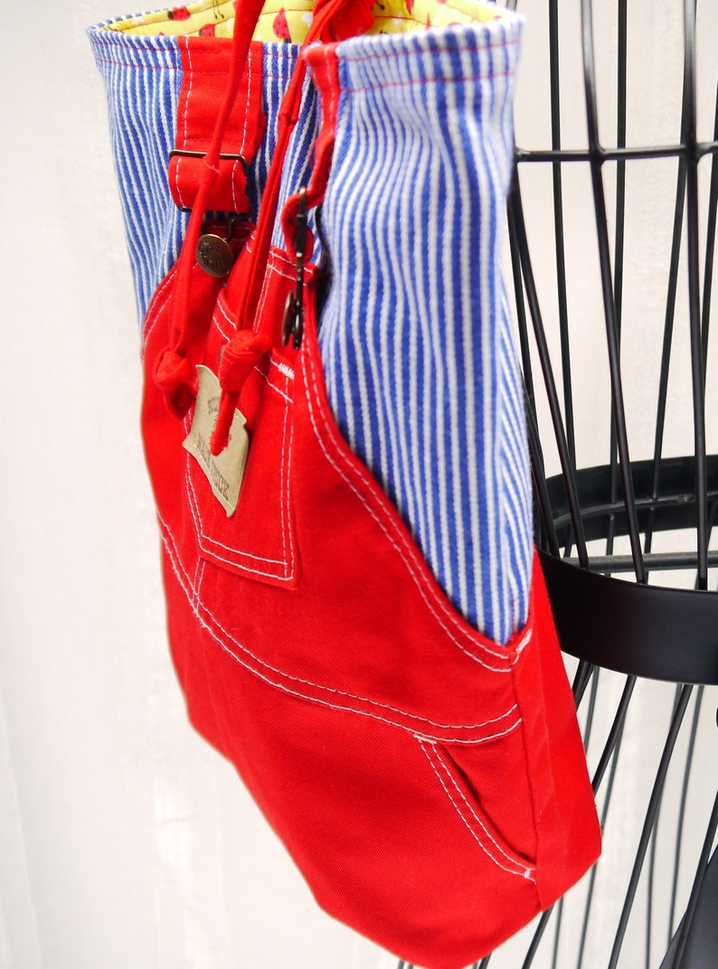 Childs Backpack Red Backpack Little Backpack Red Coveralls Backpack Childs Upcycled Backpack Book Bag Upcycled Coveralls
