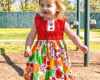 60935ca4c9cb Toddler Fruit Dress, Girl FruitDress, Toddler Dress, Girl Dress, Two-tti  Fruiti Dress, FlutterSleeveSummer Dress, Summer Dress, PeasantDress