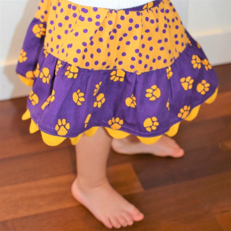 Girls Skirt Husky Skirt Toddler Skirt Purple and Gold Skirt Twirl Skirt University of Washington Skirt UW Skirt Tiered Skirt PAC 12