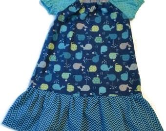 Whale Peasant Dress, Toddler Peasant Dress, Girl Peasant Dress, Whale Toddler Dress, Little Girl Dress, Dress, Girl Whale Dress