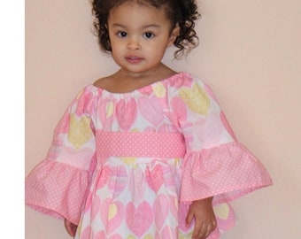 Heart Tunic, Tunic Top, Pullover Top, Valentine's Day, Toddler Tunic, Little Girl Tunic, Toddler Peasant Top, Pullover Tunic, Girl Tunic