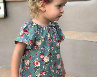 Floral Tunic, Emma Tunic, Pullover Tunic, Girls Tunic, Toddler Tunic, Peasant Tunic, Little Girl Tunic, Toddler Clothing, Girl Peasant Top