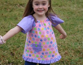 Emma Tunic, Pullover Tunic, Peasant Top, Girl Peasant Top, Toddler Peasant Top, Toddler Clothing, Girl Clothing, Girl Tunic, Girl Tunic