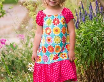 Girl Peasant Dress, Toddler Peasant Dress, Floral Girl Dress, Peasant Dress, Toddler Dress, Girl Clothing, Toddler Clothing, Floral Dress