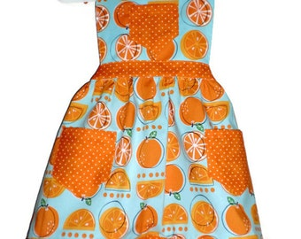 Cooking Apron, Baking Apron, Orange Slice Apron, Kids Apron, Girls Apron, Toddler Apron, Little Girls Apron, Handmade Apron, Orange Apron