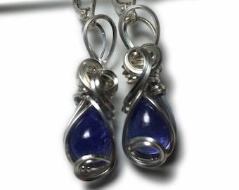 Tanzanite Earrings Blue Violet Sterling Silver, Rocks2Rings Wire Wrapped Jewelry 119s4-8