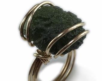 Genuine Moldavite Crystal Ring - Gold Czech Republic Tektite Healing Stones Jewelry Made to Size RG7