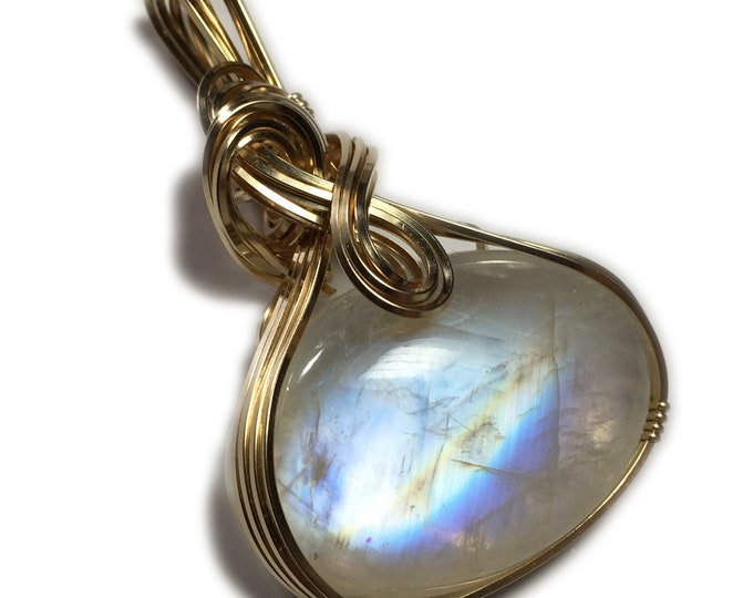 Rainbow Moonstone Pendant 14k Gold Filled with Black Leather Necklace Wire Wrapped Jewelry 50 ct 2131g5-0