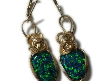 Black Opal Earrings 14K - Gold Filled Lab Created Opal Jewelry EG12 Z