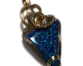 Opal, Black OPAL PENDANT, 14k, Gold Filled, Bright Blues, Greens, Necklace, Wire wrapped, Jewelry, 2925g2r