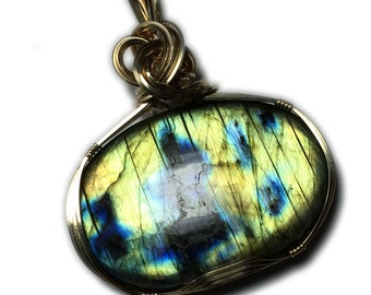Labradorite Pendant, Blue Gold Flashes, 14k Gold Filled with Black Leather Necklace  Wire Wrapped Jewelry by Rocks2Rings 2844g1-0