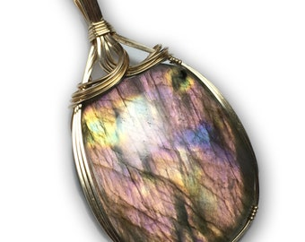 Labradorite Fire 925 Sterling Silver - Pendant Jewelry with Black Leather Necklace, Elegant Gift box, Exact Gem in Pic, Rocks2Rings 6G20 Z